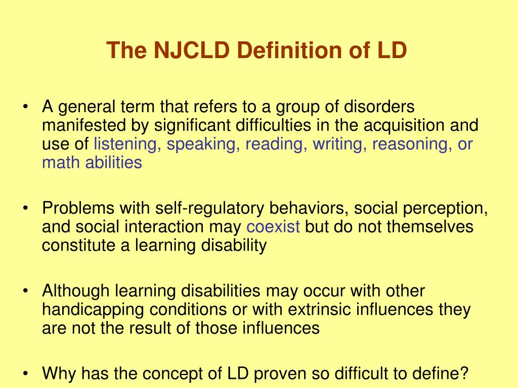 The NJCLD Definition of LD