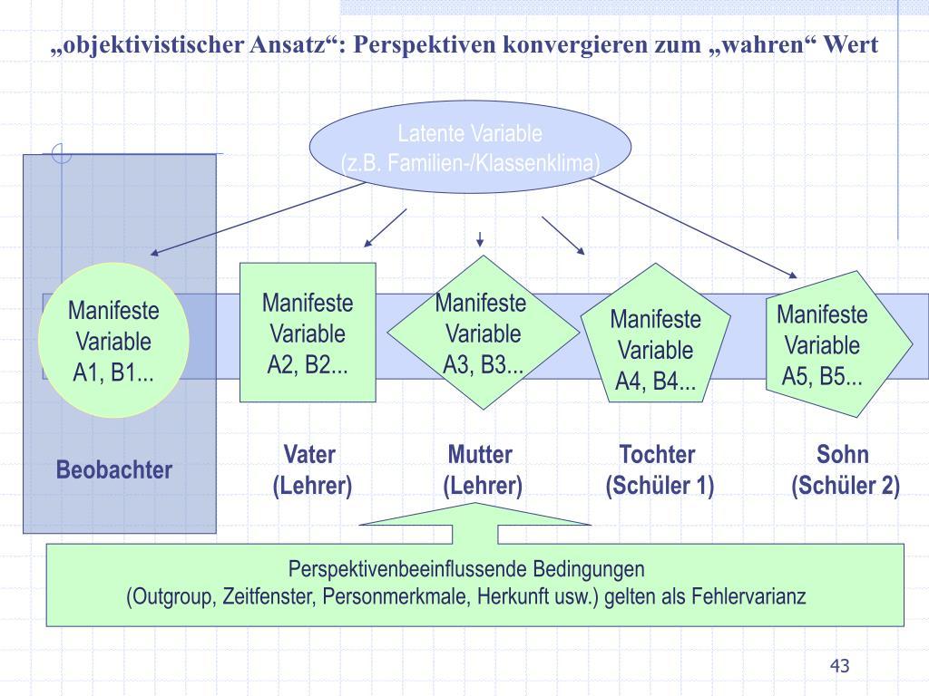 """""""objektivistischer Ansatz"""": Perspektiven konvergieren zum """"wahren"""" Wert"""