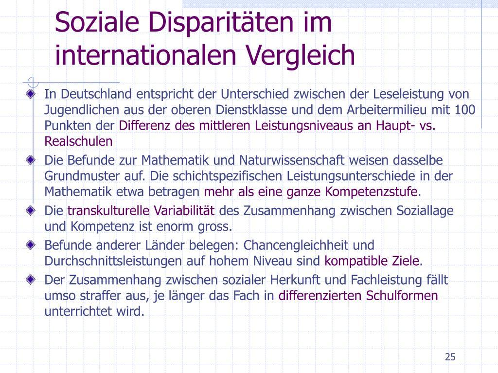 Soziale Disparitäten im internationalen Vergleich