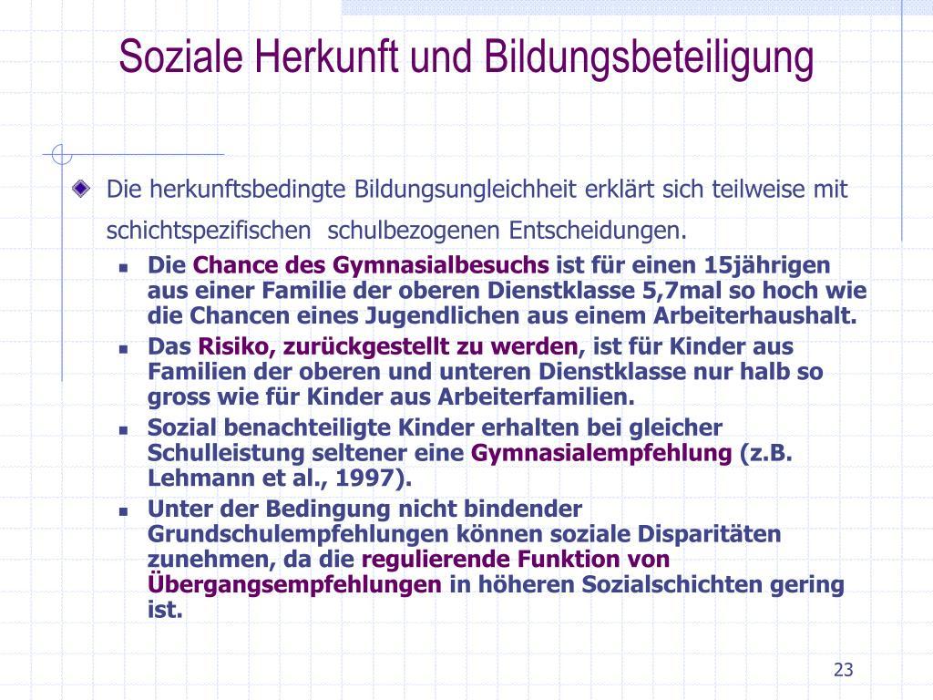 Soziale Herkunft und Bildungsbeteiligung