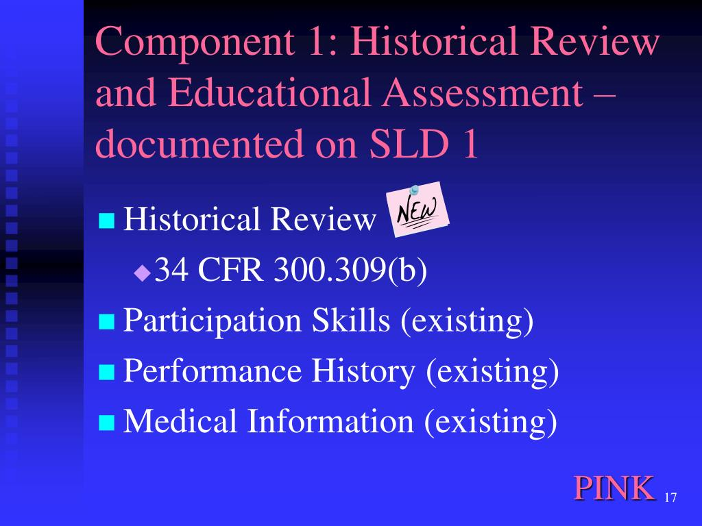 Component 1: Historical Review and Educational Assessment – documented on SLD 1