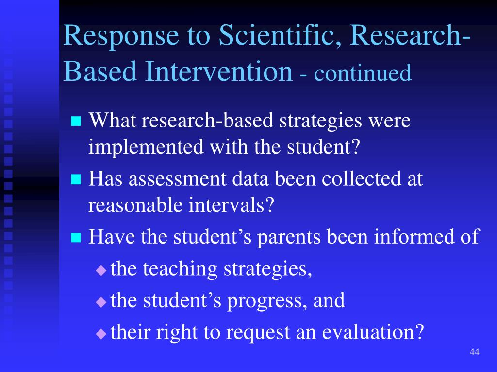 Response to Scientific, Research-Based Intervention