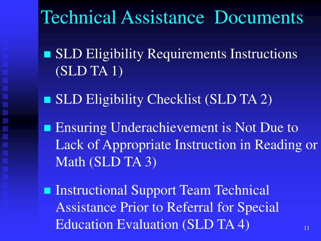 SLD Eligibility Requirements Instructions (SLD TA 1)