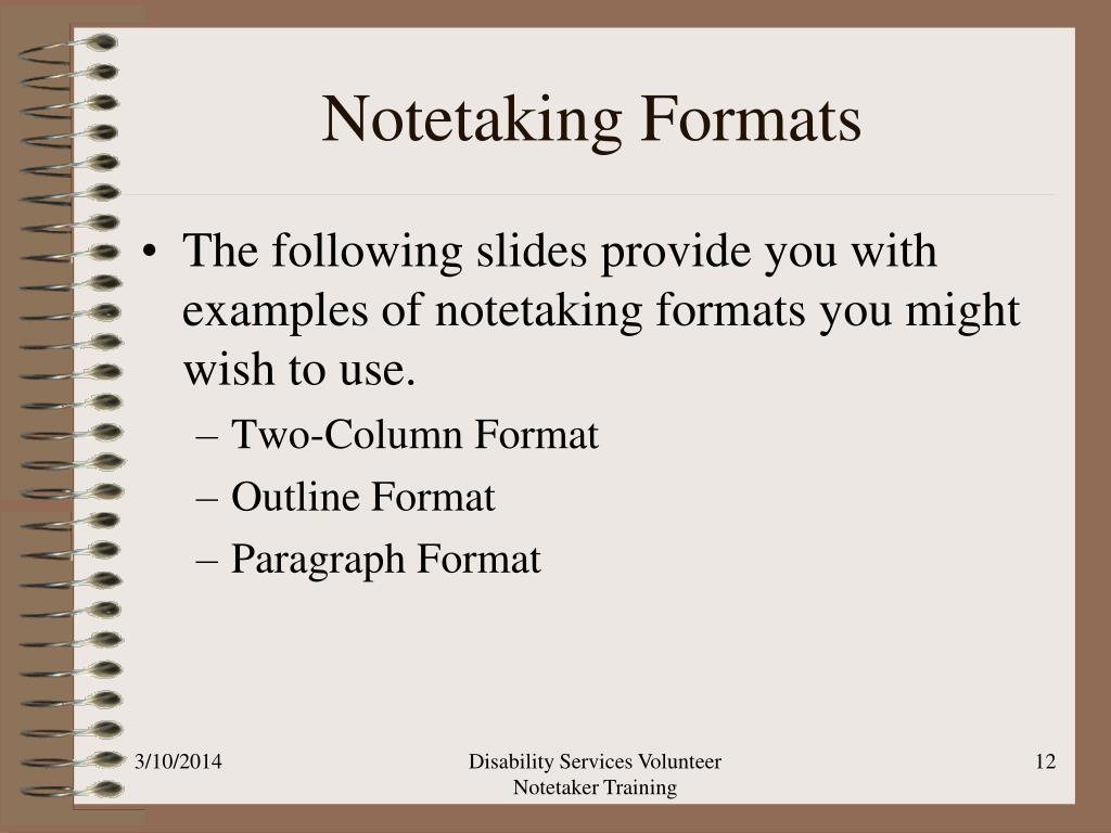 Notetaking Formats