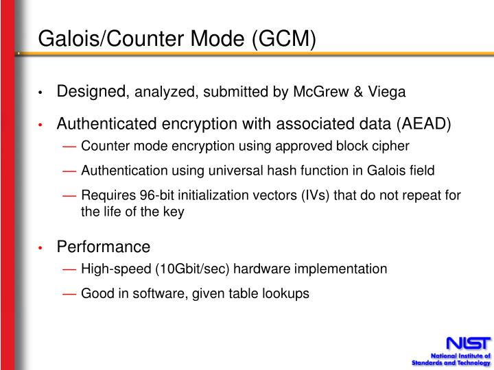 Galois counter mode gcm