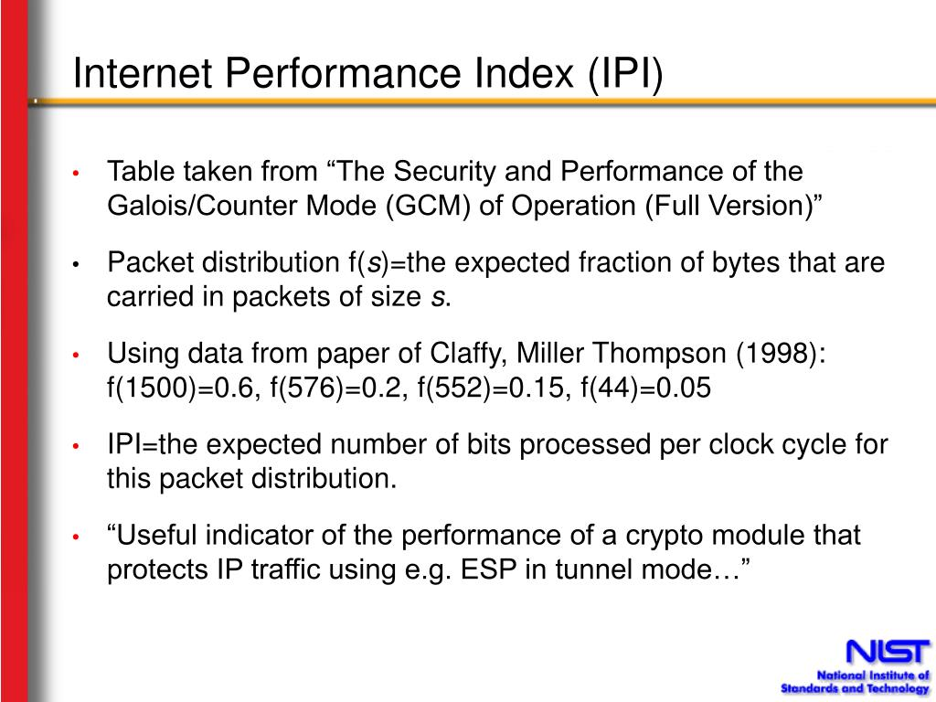 Internet Performance Index (IPI)