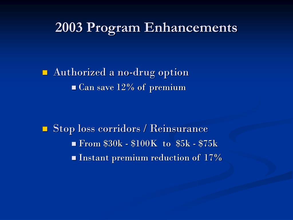 2003 Program Enhancements