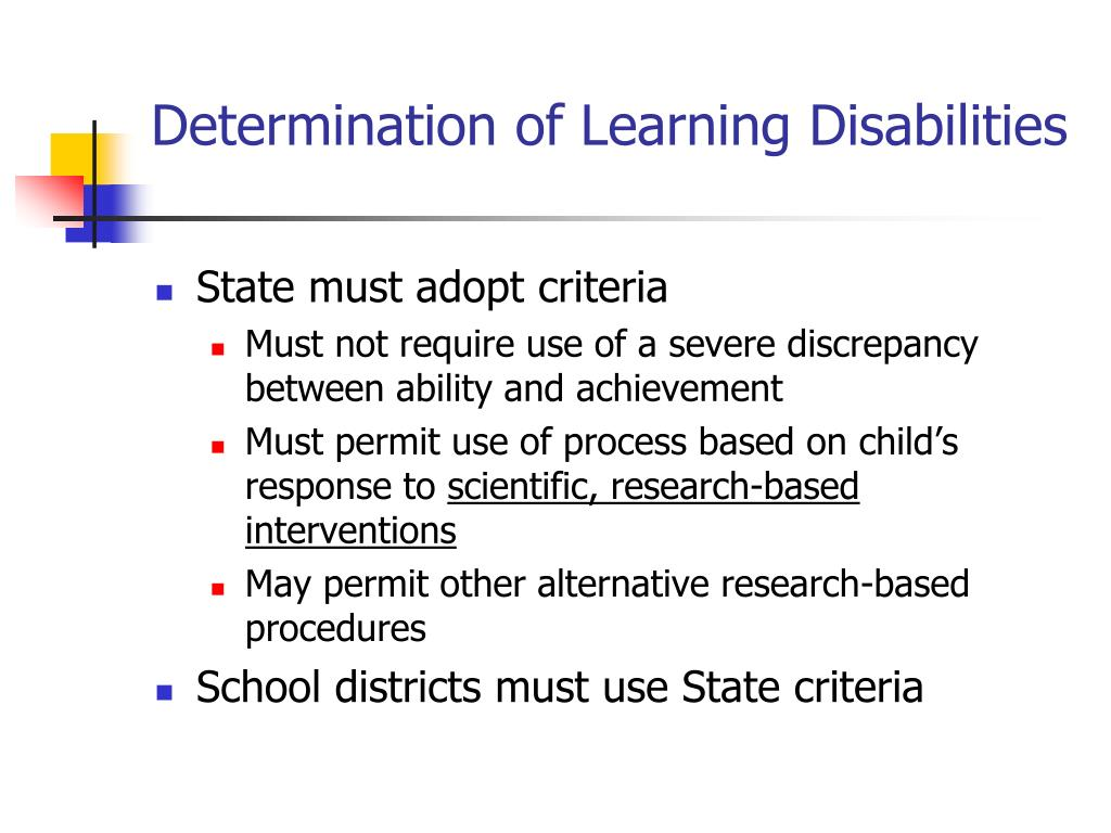 Determination of Learning Disabilities