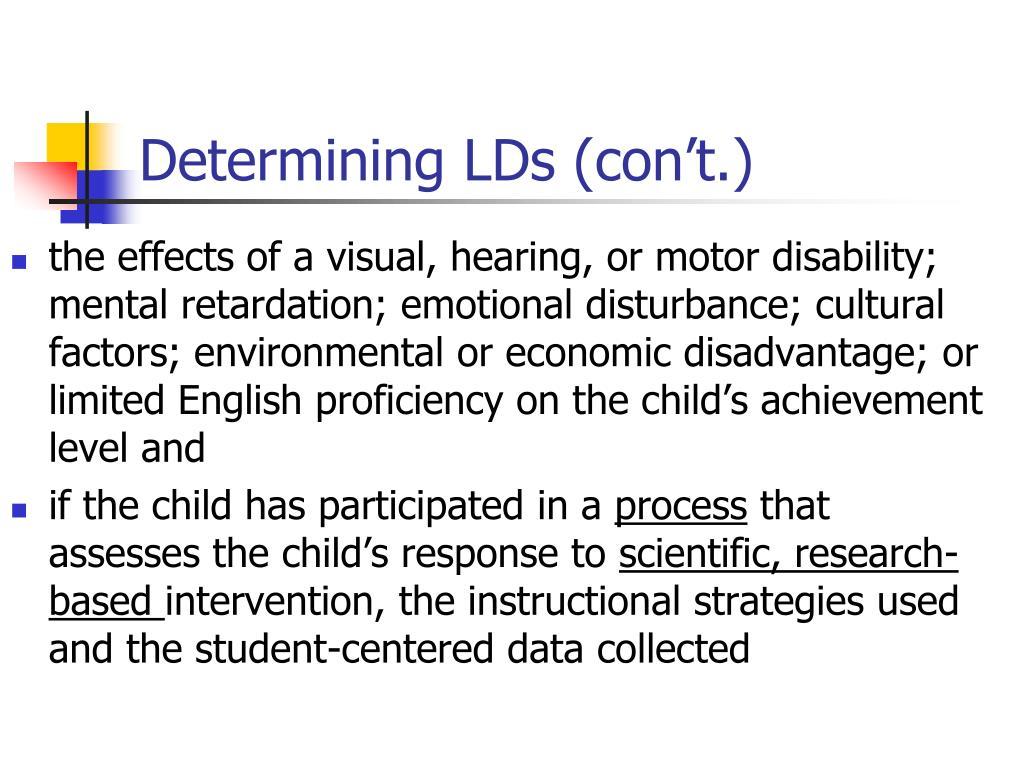 Determining LDs (con't.)