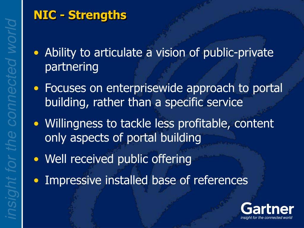 NIC - Strengths