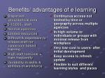 benefits advantages of e learning