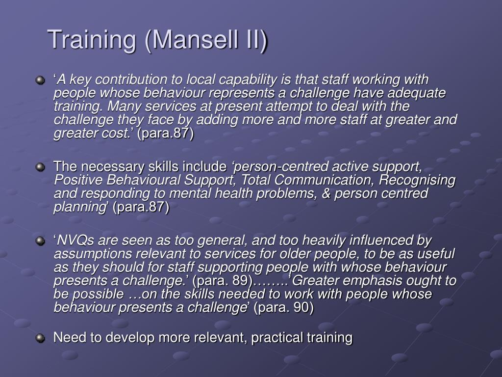 Training (Mansell II)