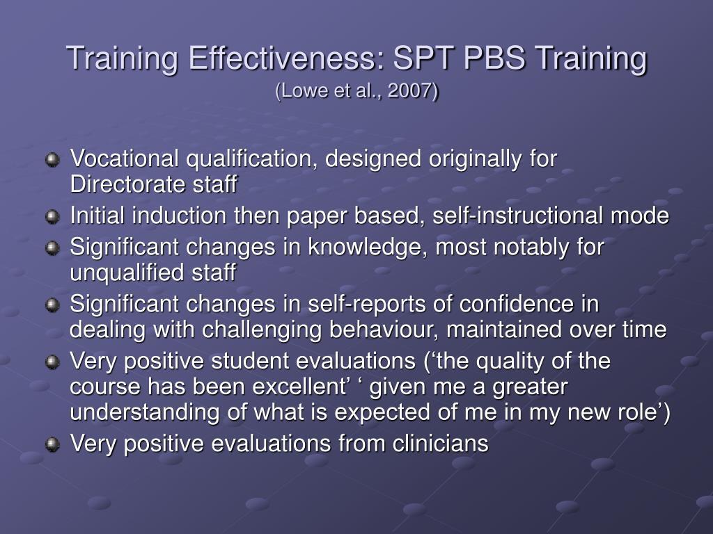 Training Effectiveness: SPT PBS Training