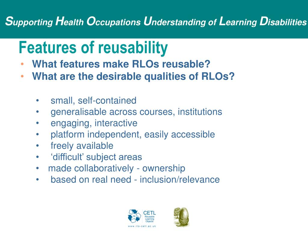 Features of reusability