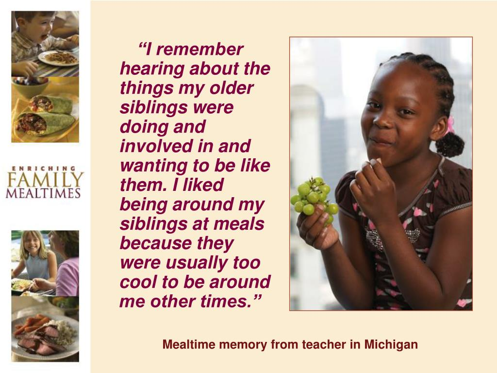 Mealtime memory from teacher in Michigan