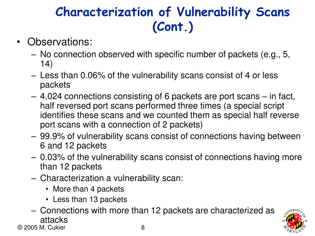 Characterization of Vulnerability Scans (Cont.)