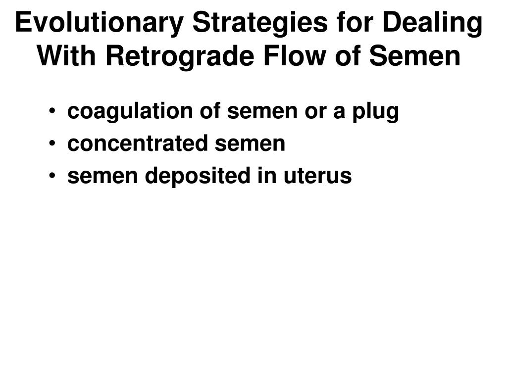 Evolutionary Strategies for Dealing With Retrograde Flow of Semen