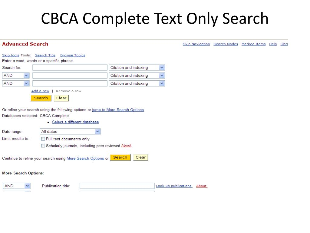 CBCA Complete Text Only Search