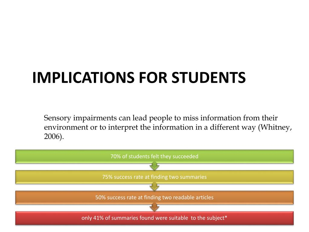 Sensory impairments can lead people to miss information from their environment or to interpret the information in a different way (Whitney, 2006).
