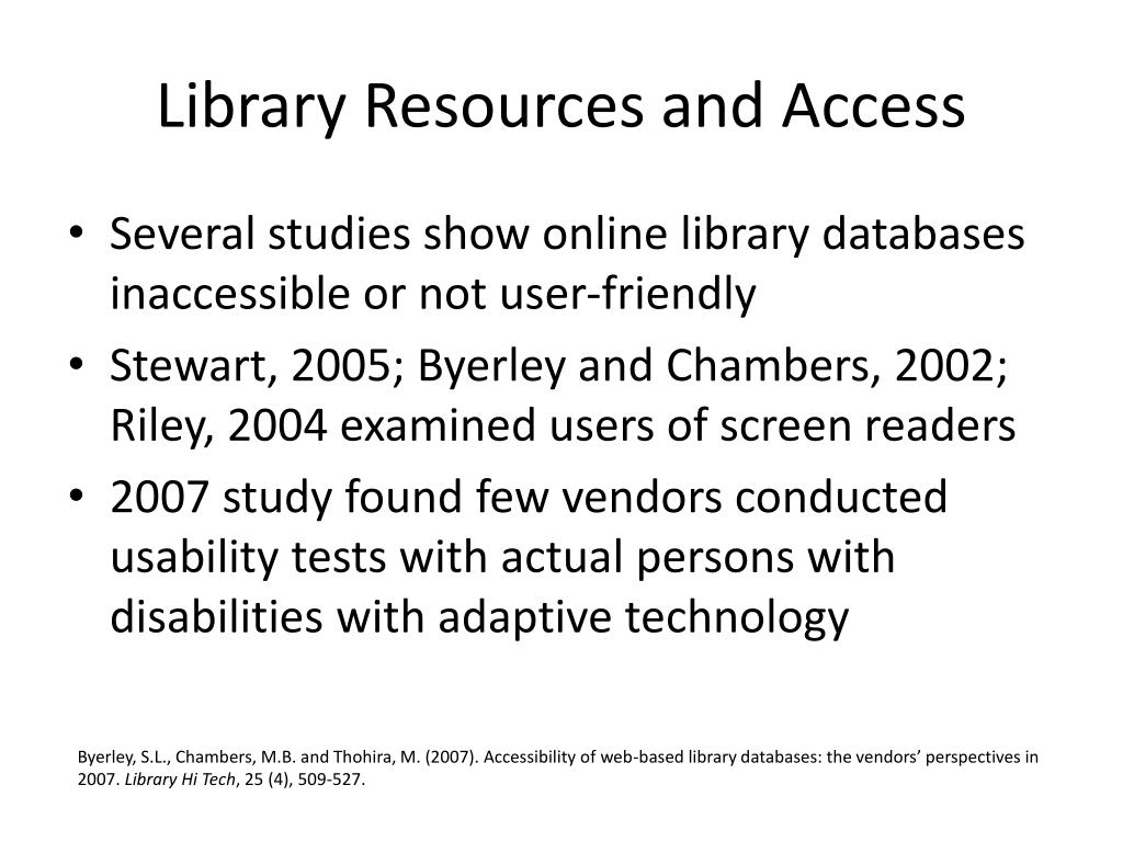 Library Resources and Access
