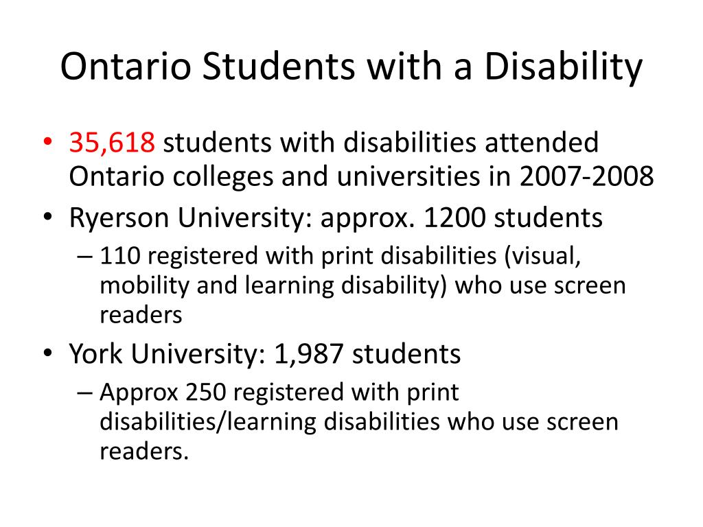 Ontario Students with a Disability