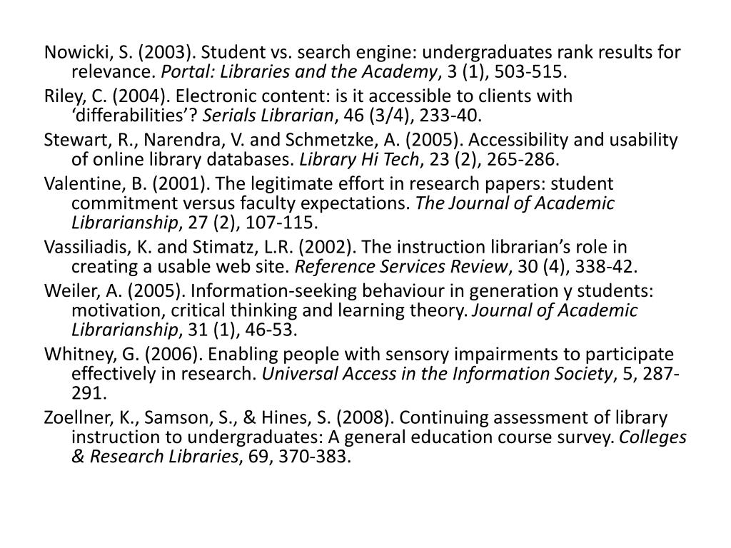 Nowicki, S. (2003). Student vs. search engine: undergraduates rank results for relevance.
