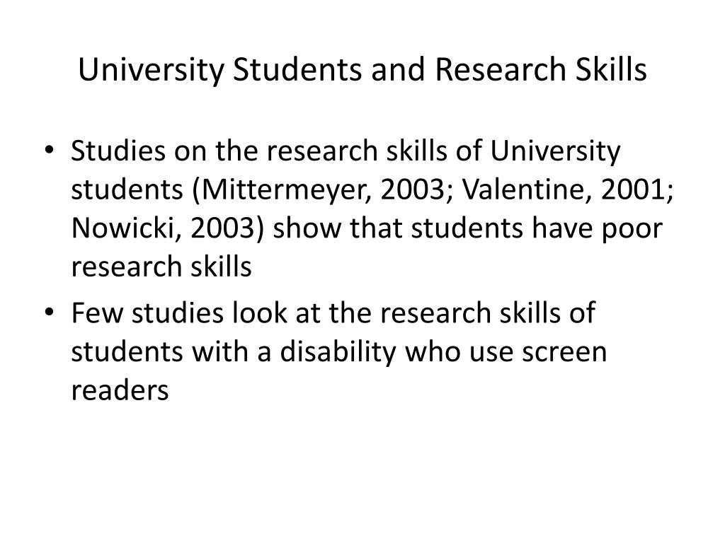 University Students and Research Skills