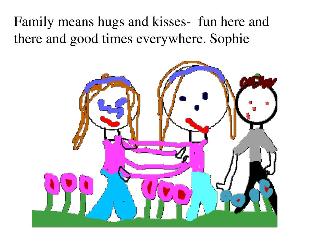 Family means hugs and kisses-  fun here and there and good times everywhere. Sophie
