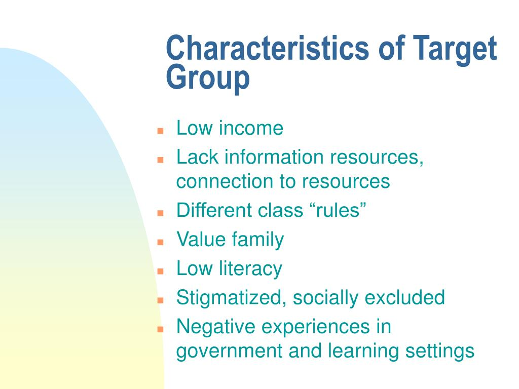 Characteristics of Target Group
