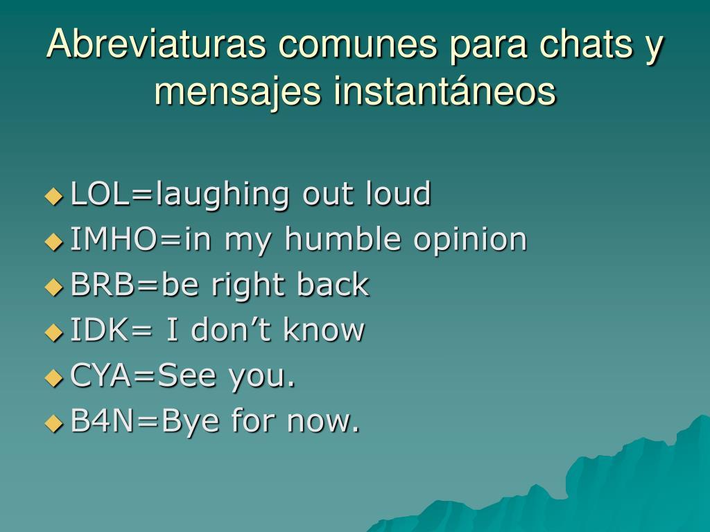 Abreviaturas comunes para chats y mensajes instantáneos