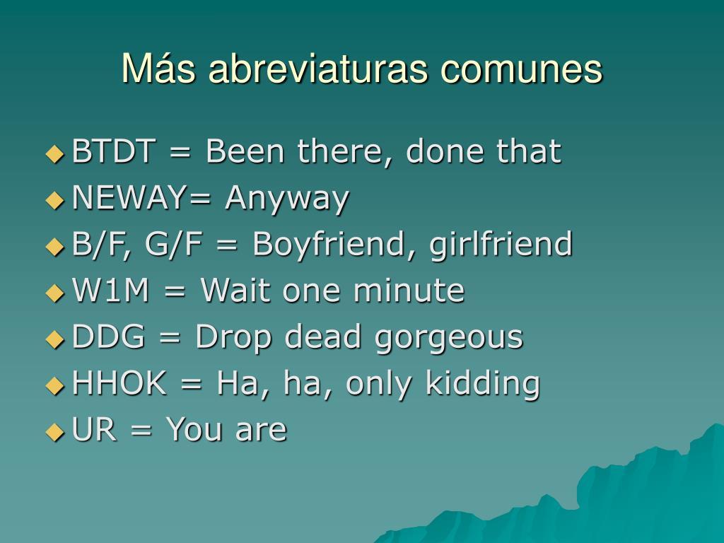 Más abreviaturas comunes
