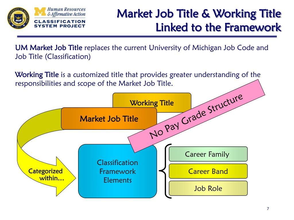 Market Job Title & Working Title Linked to the Framework
