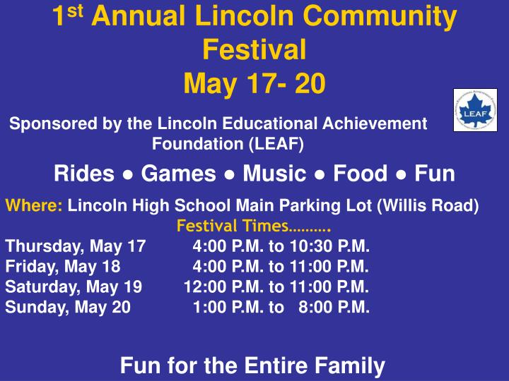 1 st annual lincoln community festival may 17 20