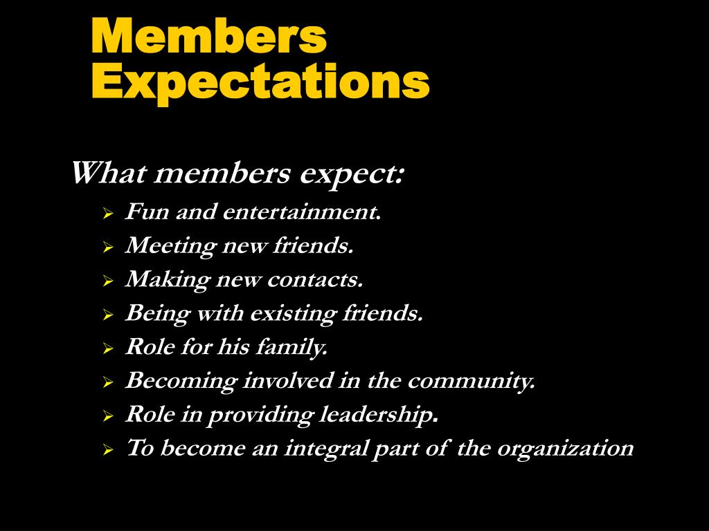 Members Expectations