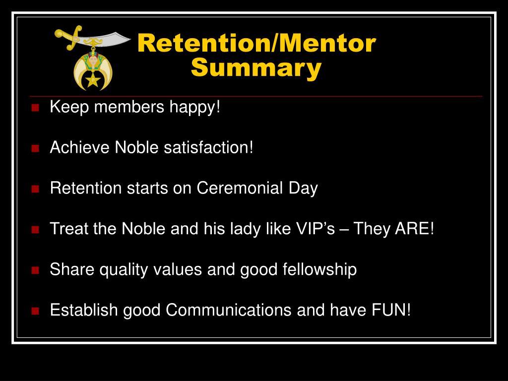 Retention/Mentor