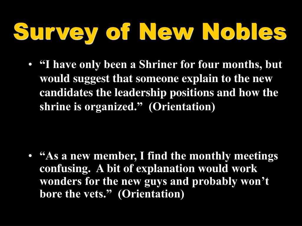 Survey of New Nobles