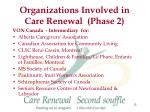 organizations involved in care renewal phase 2