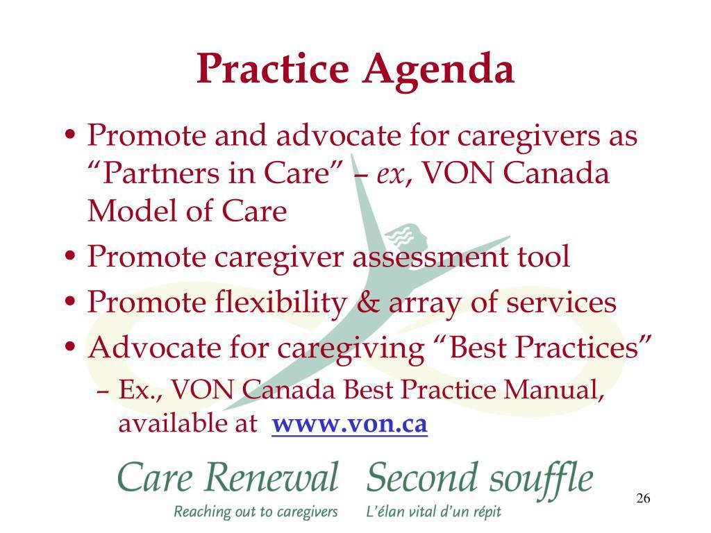 Practice Agenda