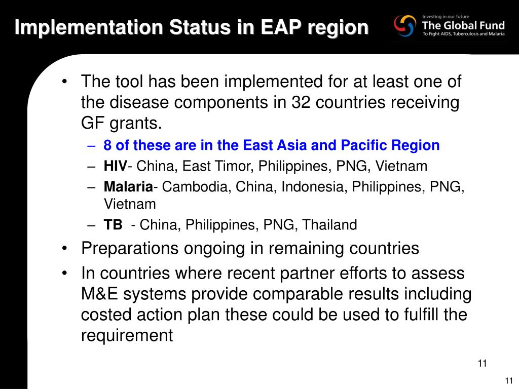 Implementation Status in EAP region