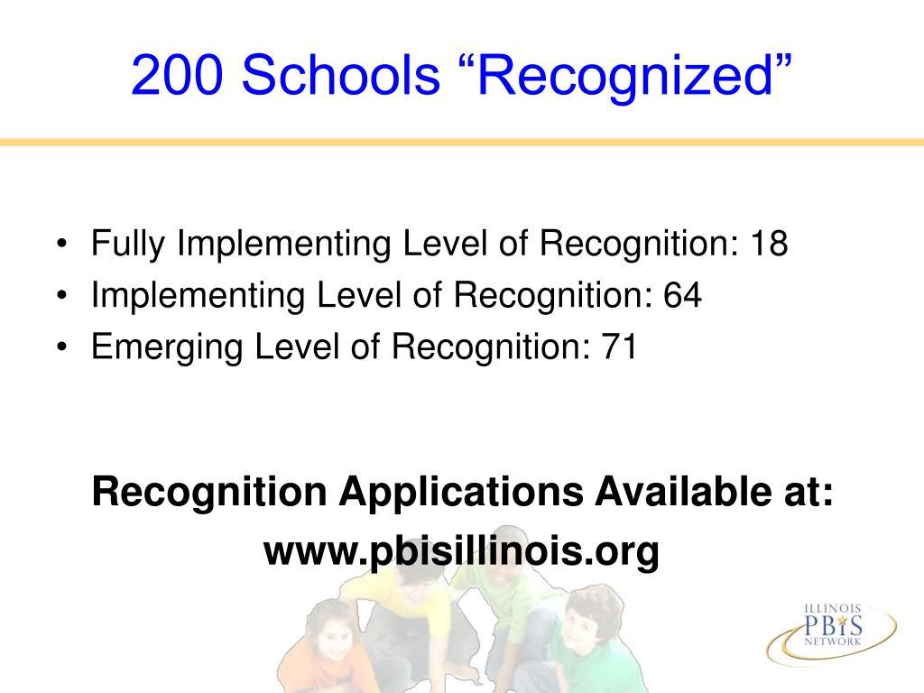 "200 Schools ""Recognized"""