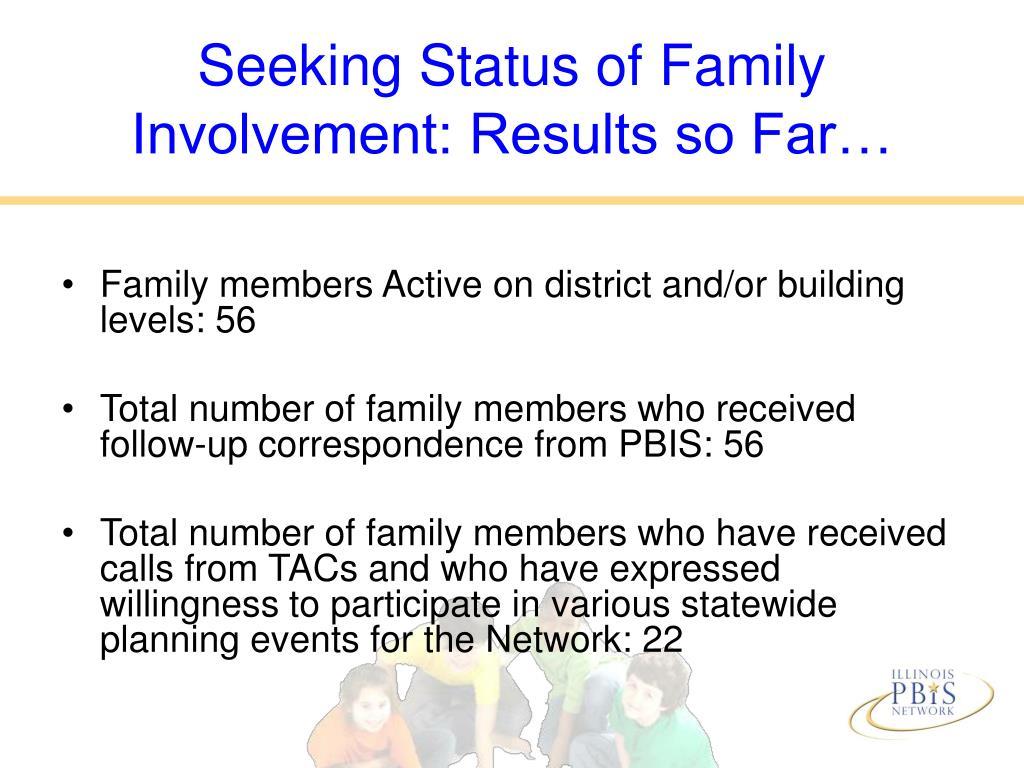 Seeking Status of Family Involvement: Results so Far…