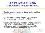 seeking status of family involvement results so far
