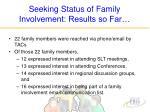 seeking status of family involvement results so far25