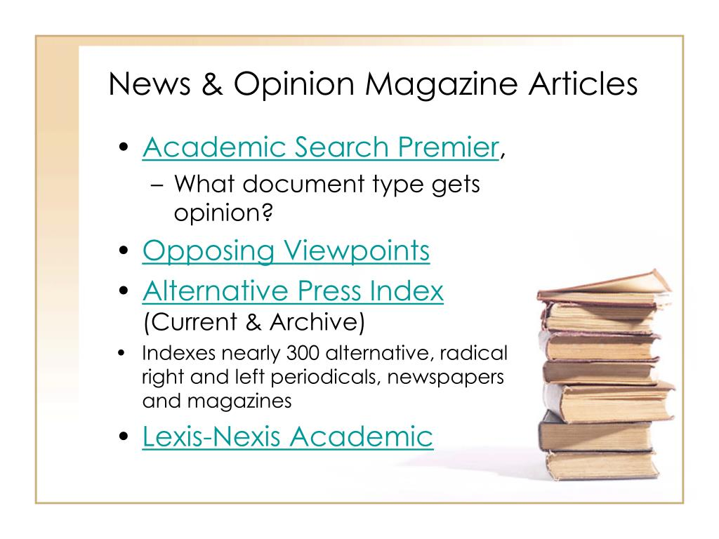 News & Opinion Magazine Articles