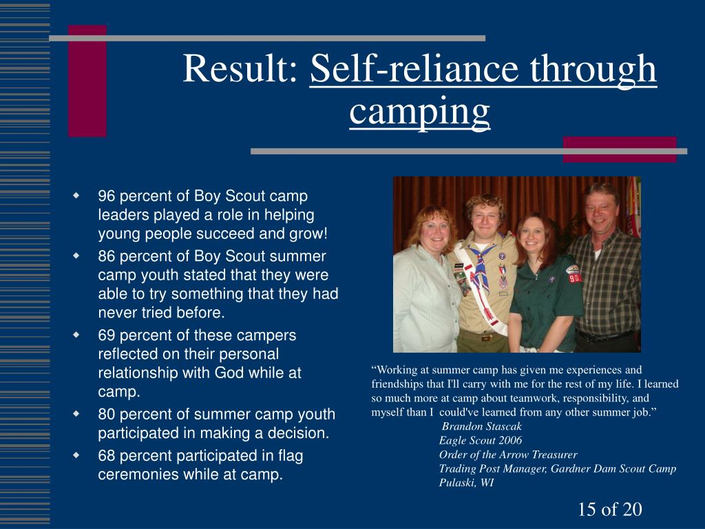 96 percent of Boy Scout camp leaders played a role in helping young people succeed and grow!