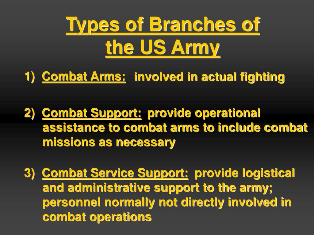 Types of Branches of the US Army