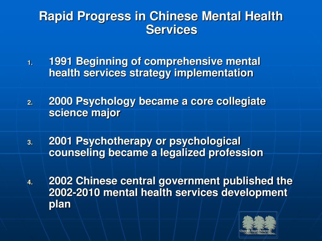 Rapid Progress in Chinese Mental Health Services