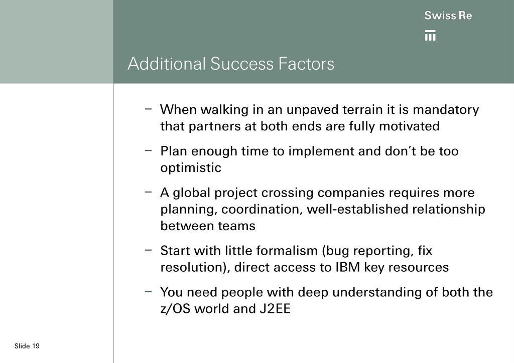 Additional Success Factors