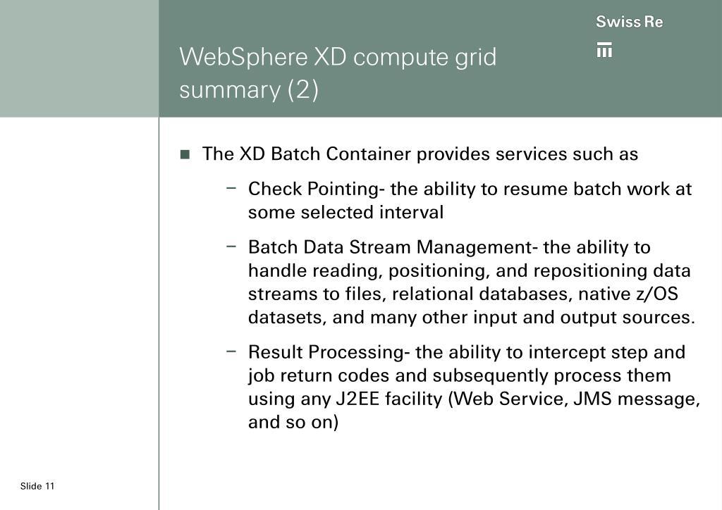 WebSphere XD compute grid summary (2)