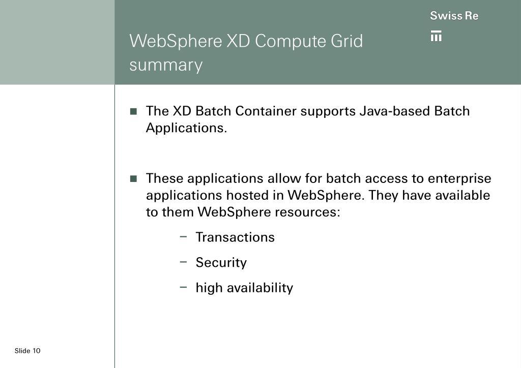 WebSphere XD Compute Grid summary